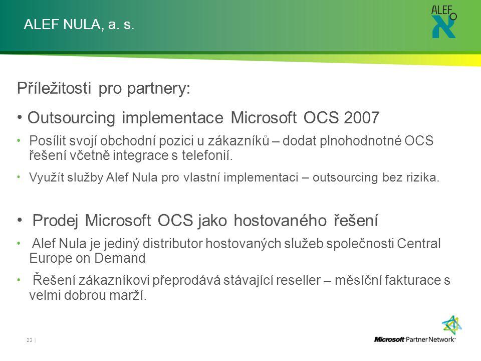 Příležitosti pro partnery: Outsourcing implementace Microsoft OCS 2007