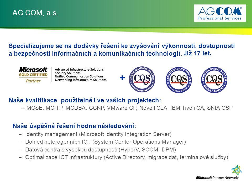AG COM, a.s. Specializujeme se na dodávky řešení ke zvyšování výkonnosti, dostupnosti a bezpečnosti informačních a komunikačních technologií.