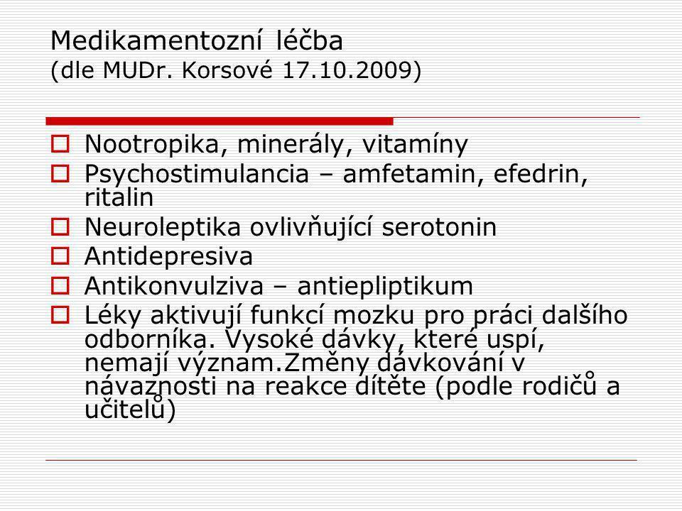 Medikamentozní léčba (dle MUDr. Korsové 17.10.2009)