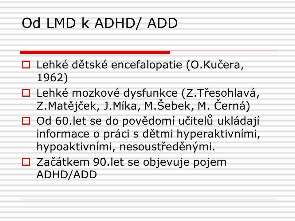 Od LMD k ADHD/ ADD Lehké dětské encefalopatie (O.Kučera, 1962)