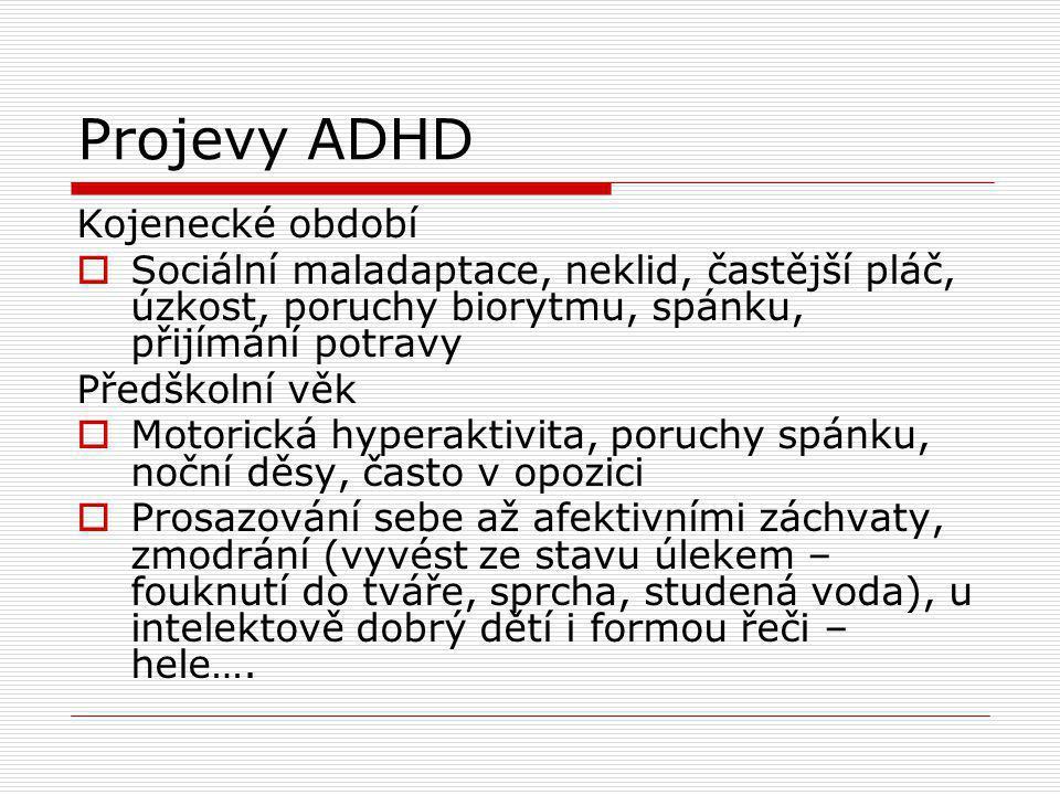 Projevy ADHD Kojenecké období