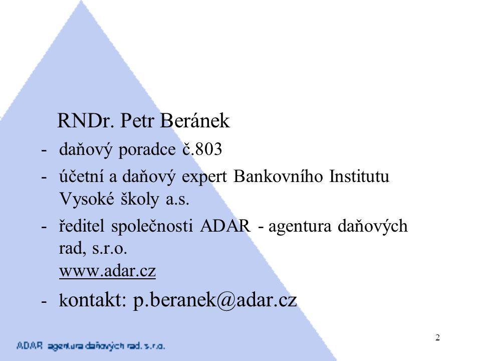RNDr. Petr Beránek daňový poradce č.803