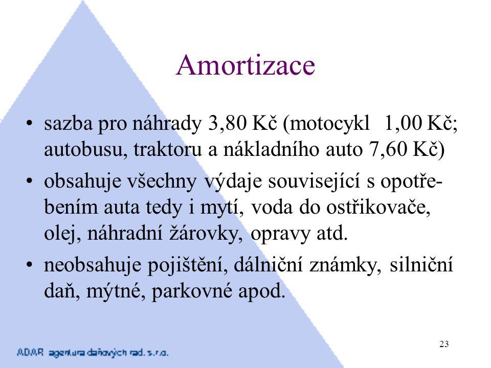 Amortizace sazba pro náhrady 3,80 Kč (motocykl 1,00 Kč; autobusu, traktoru a nákladního auto 7,60 Kč)