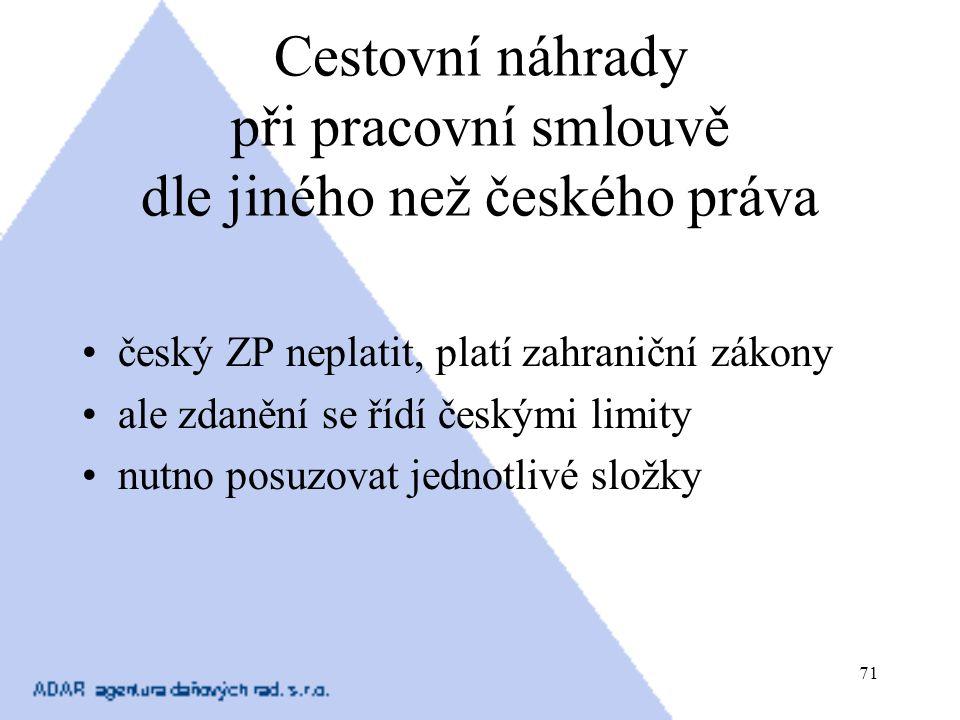 Cestovní náhrady při pracovní smlouvě dle jiného než českého práva
