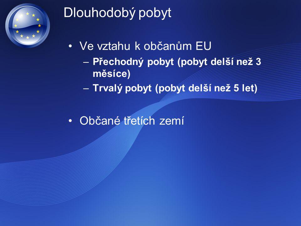 Dlouhodobý pobyt Ve vztahu k občanům EU Občané třetích zemí