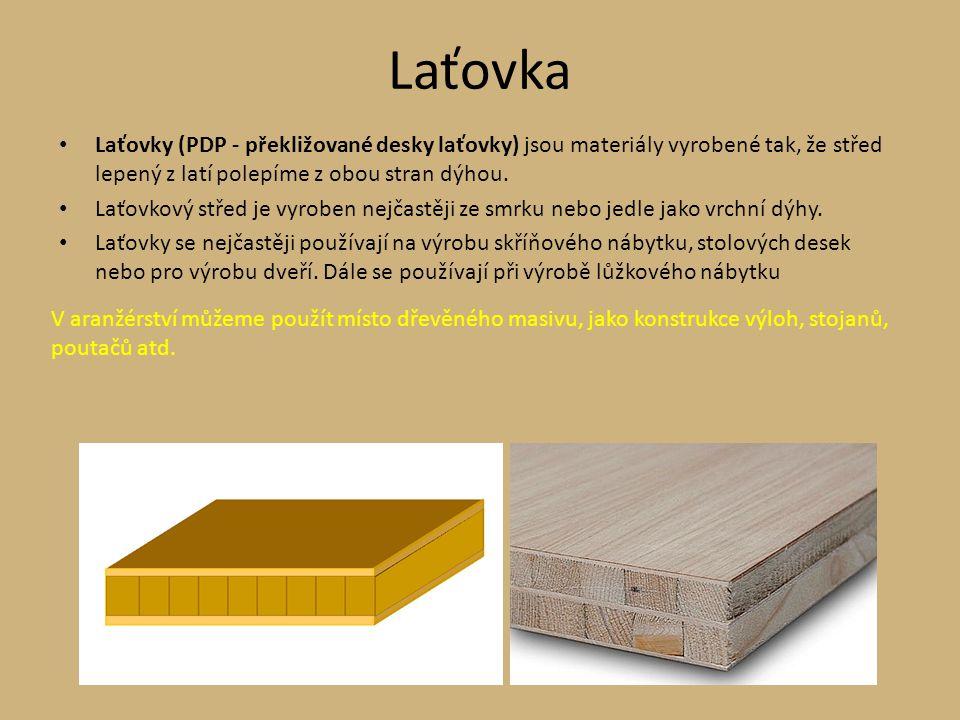 Laťovka Laťovky (PDP - překližované desky laťovky) jsou materiály vyrobené tak, že střed lepený z latí polepíme z obou stran dýhou.