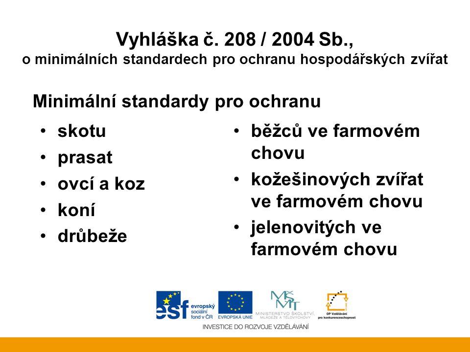 Vyhláška č. 208 / 2004 Sb., o minimálních standardech pro ochranu hospodářských zvířat