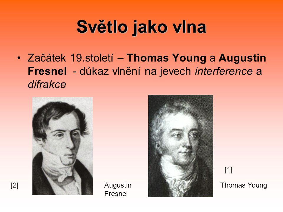 Světlo jako vlna Začátek 19.století – Thomas Young a Augustin Fresnel - důkaz vlnění na jevech interference a difrakce.