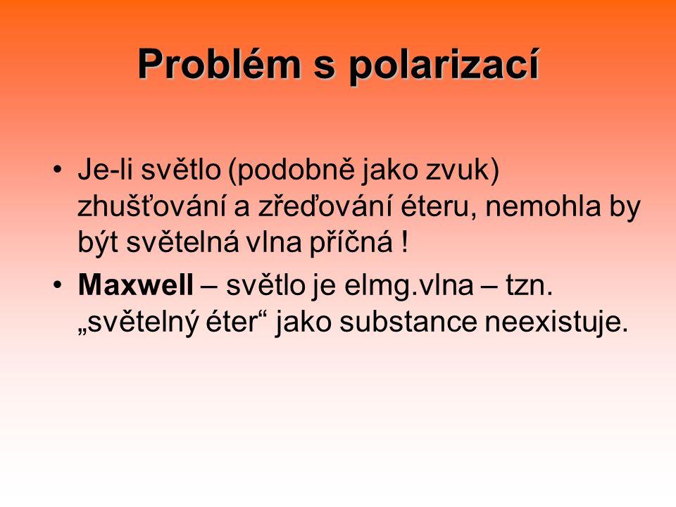 Problém s polarizací Je-li světlo (podobně jako zvuk) zhušťování a zřeďování éteru, nemohla by být světelná vlna příčná !