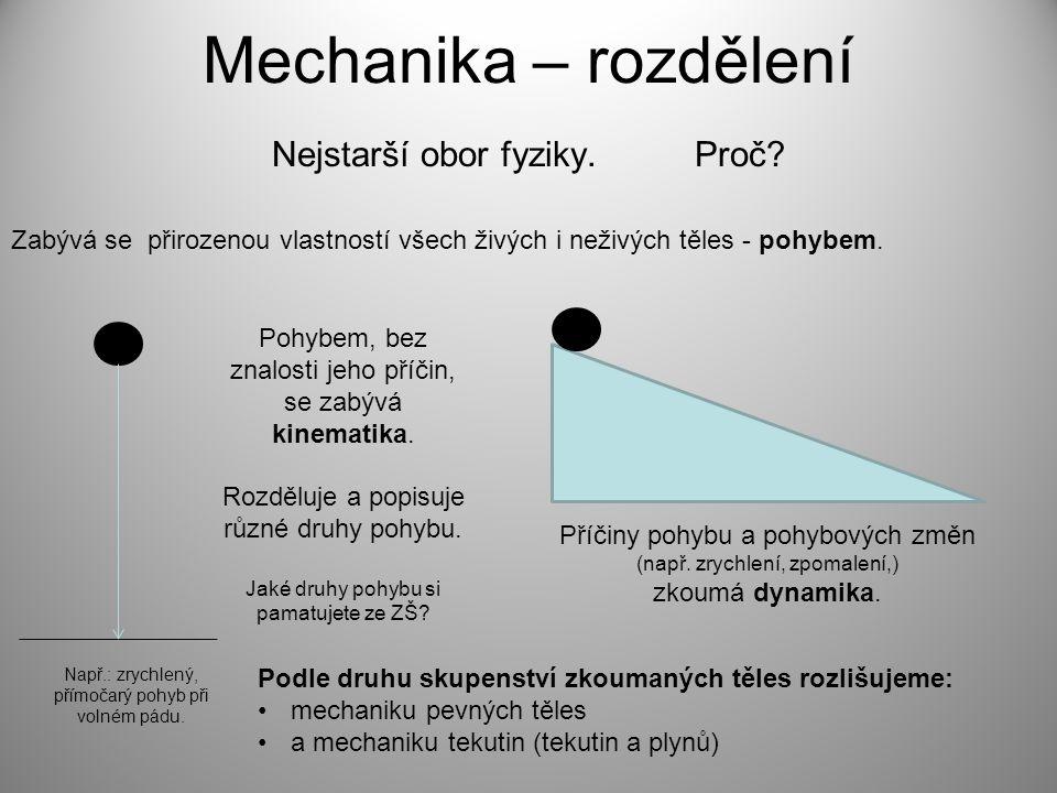 Mechanika – rozdělení Nejstarší obor fyziky. Proč