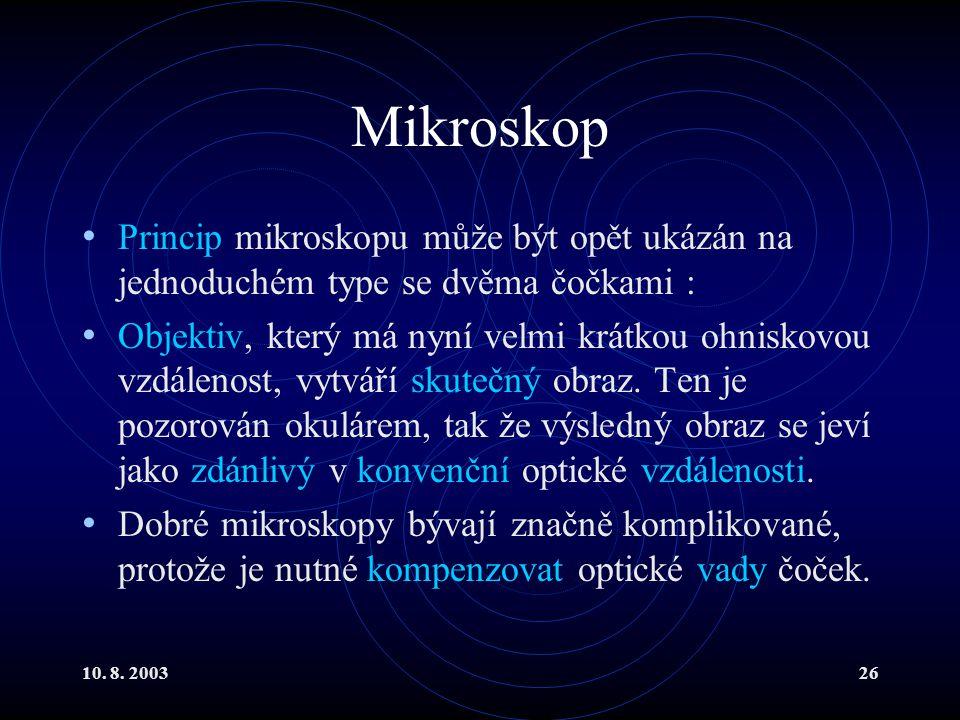 Mikroskop Princip mikroskopu může být opět ukázán na jednoduchém type se dvěma čočkami :