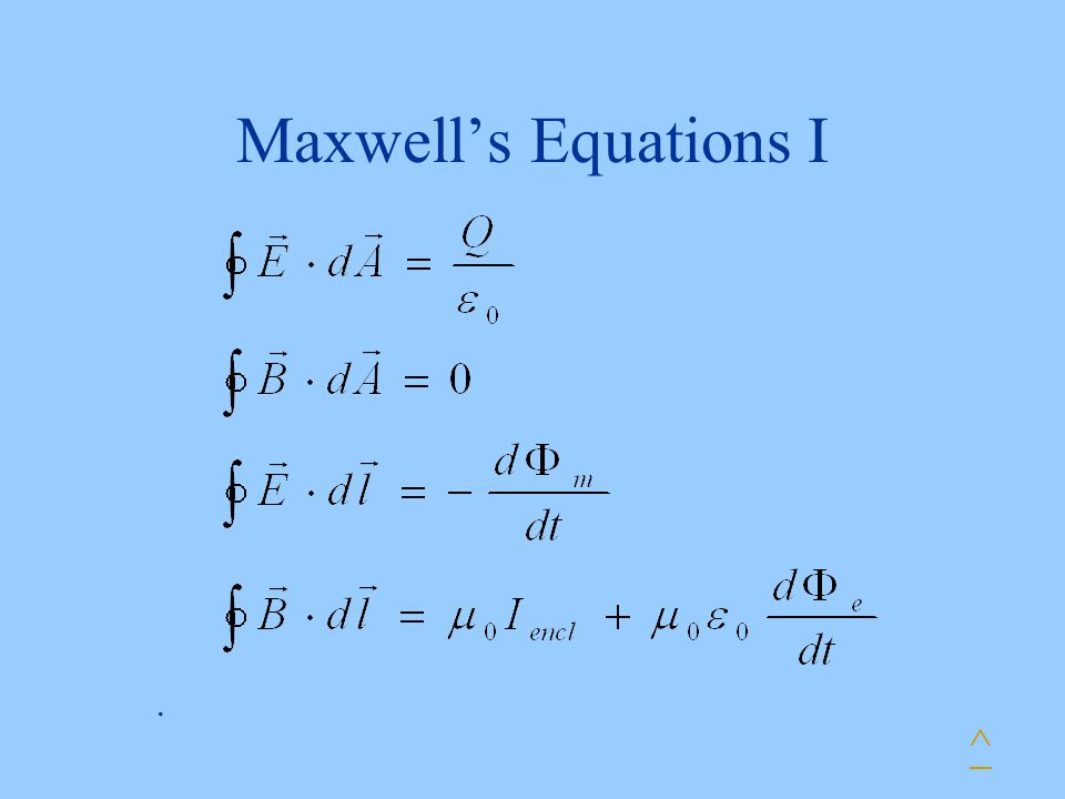 Maxwell's Equations I . ^