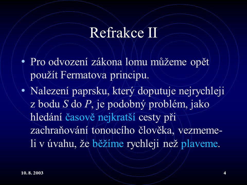 Refrakce II Pro odvození zákona lomu můžeme opět použít Fermatova principu.