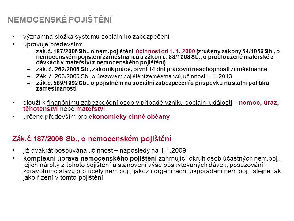 NEMOCENSKÉ POJIŠTĚNÍ Zák.č.187/2006 Sb., o nemocenském pojištění