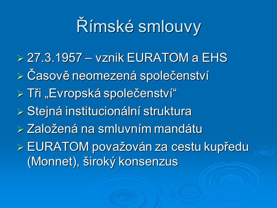 Římské smlouvy 27.3.1957 – vznik EURATOM a EHS