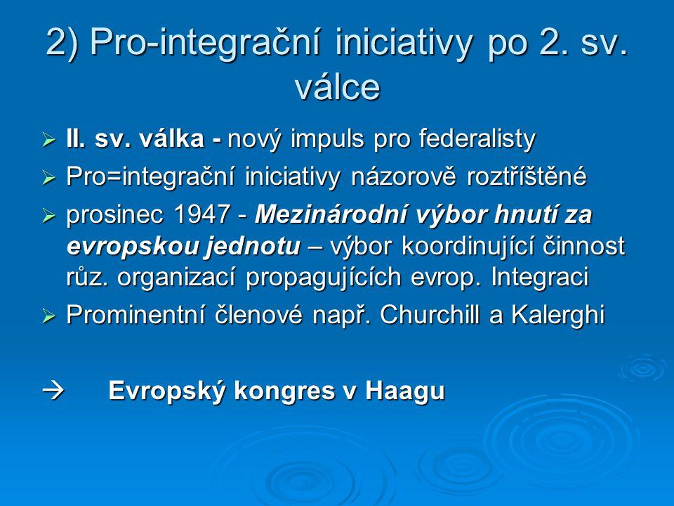2) Pro-integrační iniciativy po 2. sv. válce