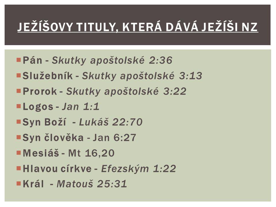 Ježíšovy tituly, která dává Ježíši NZ