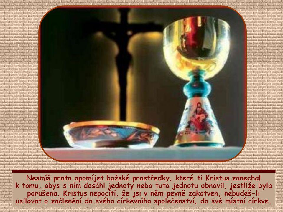 Nesmíš proto opomíjet božské prostředky, které ti Kristus zanechal k tomu, abys s ním dosáhl jednoty nebo tuto jednotu obnovil, jestliže byla porušena. Kristus nepocítí, že jsi v něm pevně zakotven, nebudeš-li usilovat o začlenění do svého církevního společenství, do své místní církve.