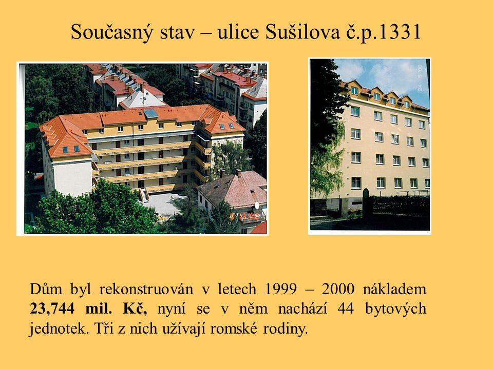 Současný stav – ulice Sušilova č.p.1331