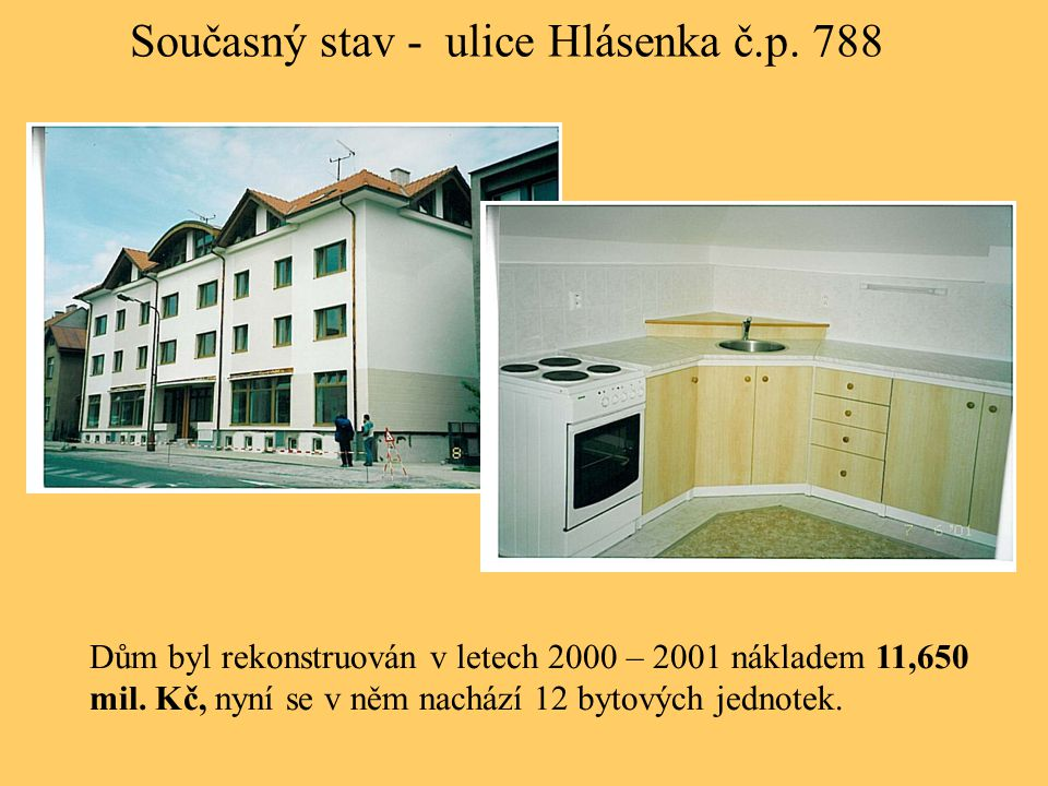 Současný stav - ulice Hlásenka č.p. 788