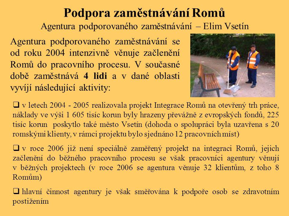 Podpora zaměstnávání Romů Agentura podporovaného zaměstnávání – Elim Vsetín