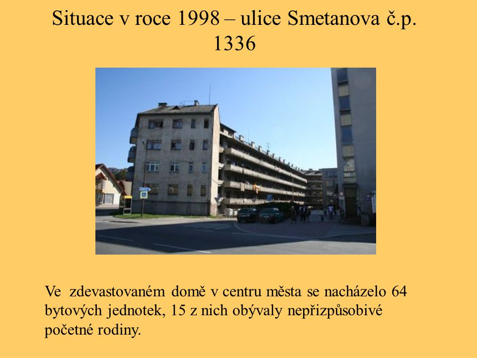 Situace v roce 1998 – ulice Smetanova č.p. 1336