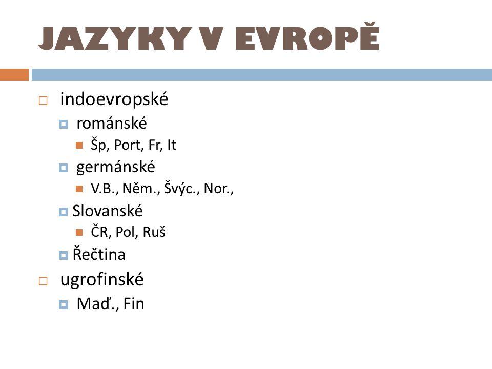 JAZYKY V EVROPĚ indoevropské ugrofinské románské germánské Slovanské
