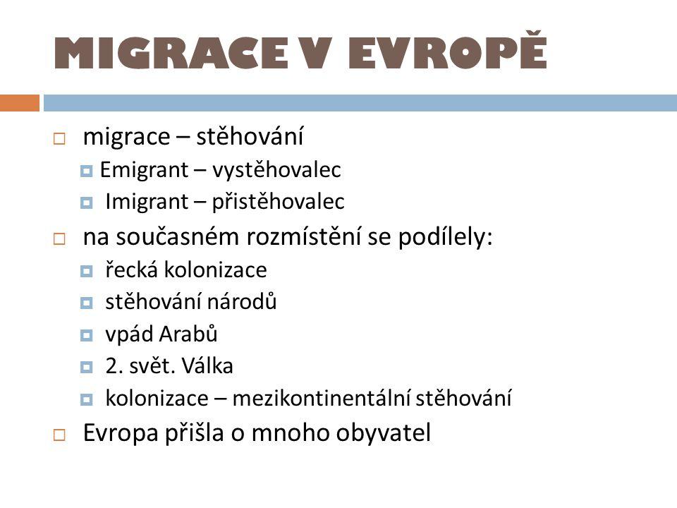 MIGRACE V EVROPĚ migrace – stěhování