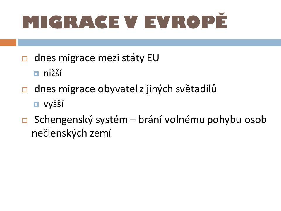 MIGRACE V EVROPĚ dnes migrace mezi státy EU
