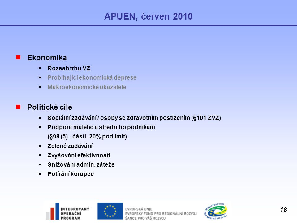 APUEN, červen 2010 Ekonomika Politické cíle Rozsah trhu VZ