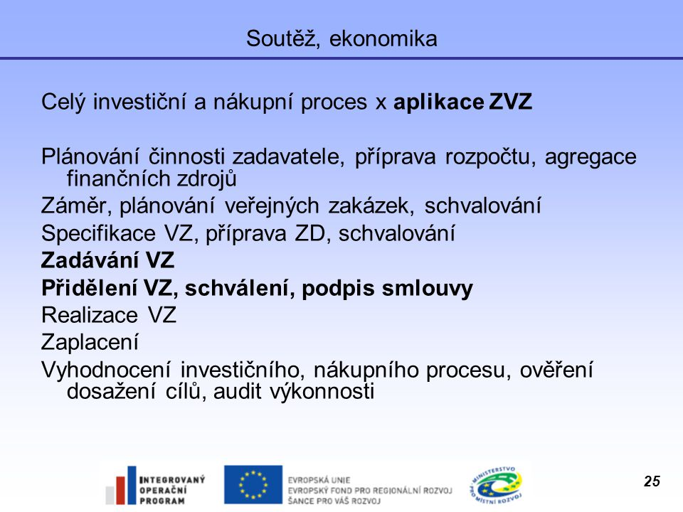 Soutěž, ekonomika Celý investiční a nákupní proces x aplikace ZVZ. Plánování činnosti zadavatele, příprava rozpočtu, agregace finančních zdrojů.