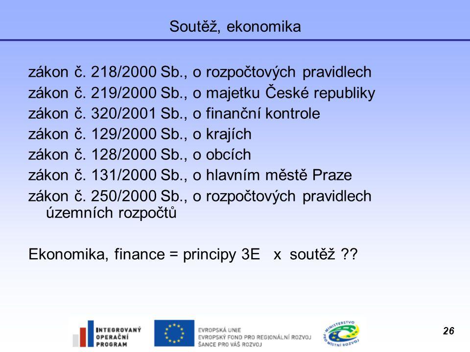 Soutěž, ekonomika zákon č. 218/2000 Sb., o rozpočtových pravidlech. zákon č. 219/2000 Sb., o majetku České republiky.