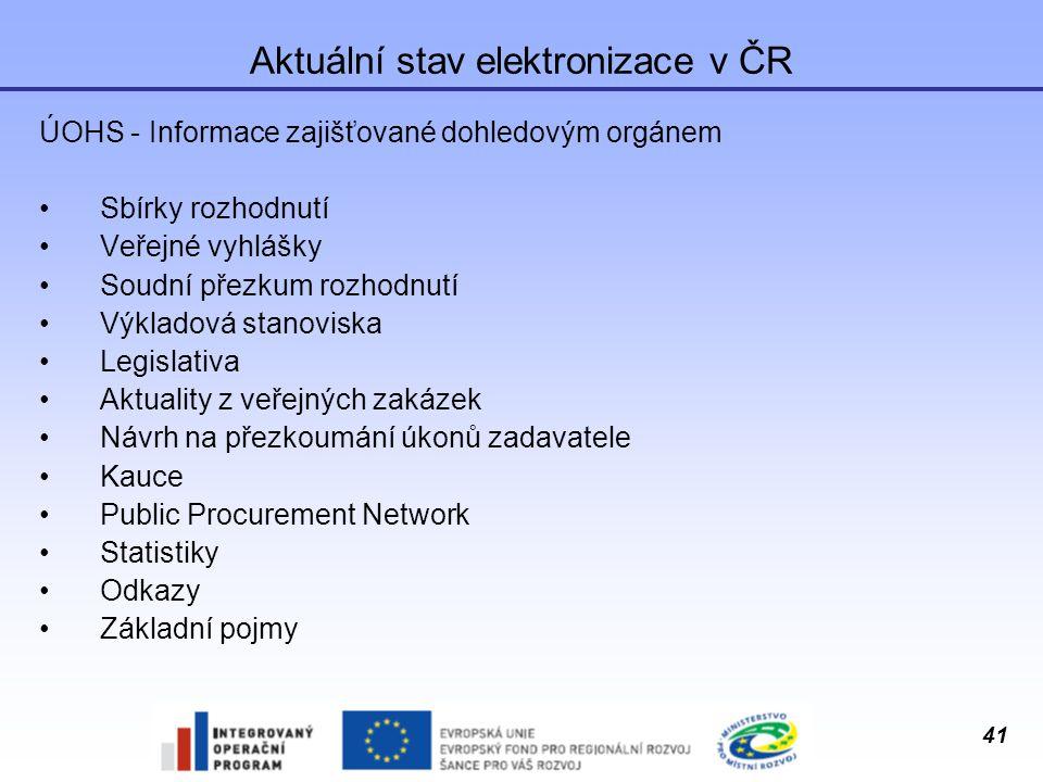 Aktuální stav elektronizace v ČR
