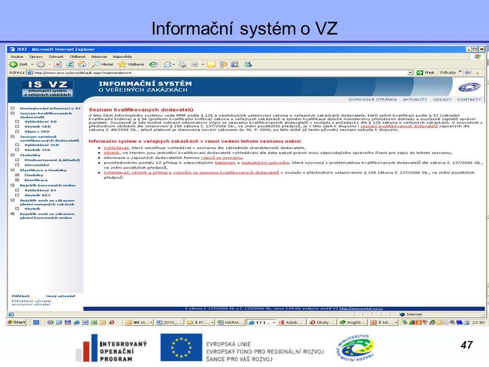 Informační systém o VZ