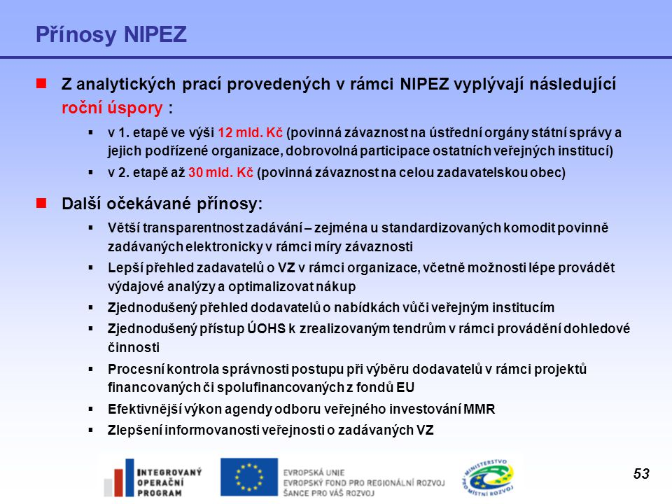 Přínosy NIPEZ Z analytických prací provedených v rámci NIPEZ vyplývají následující roční úspory :
