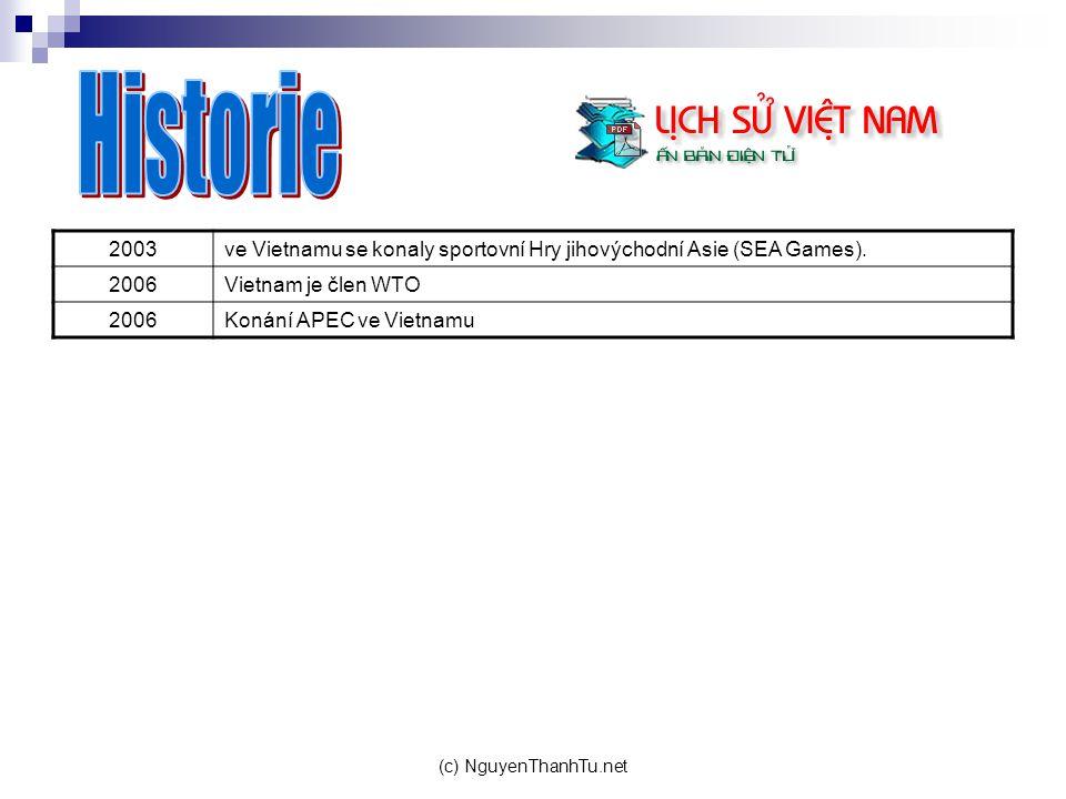 Historie 2003. ve Vietnamu se konaly sportovní Hry jihovýchodní Asie (SEA Games). 2006. Vietnam je člen WTO.