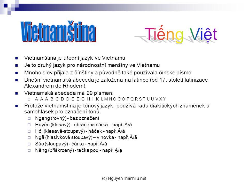 Vietnamština Tiếng Việt Vietnamština je úřední jazyk ve Vietnamu