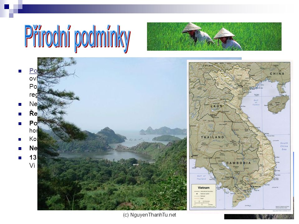 Přírodní podmínky Podnebí: Vietnamské počasí značně ovlivňuje monzunové proudění. Podnebí ve Vietnamu se liší od regionu k regionu.