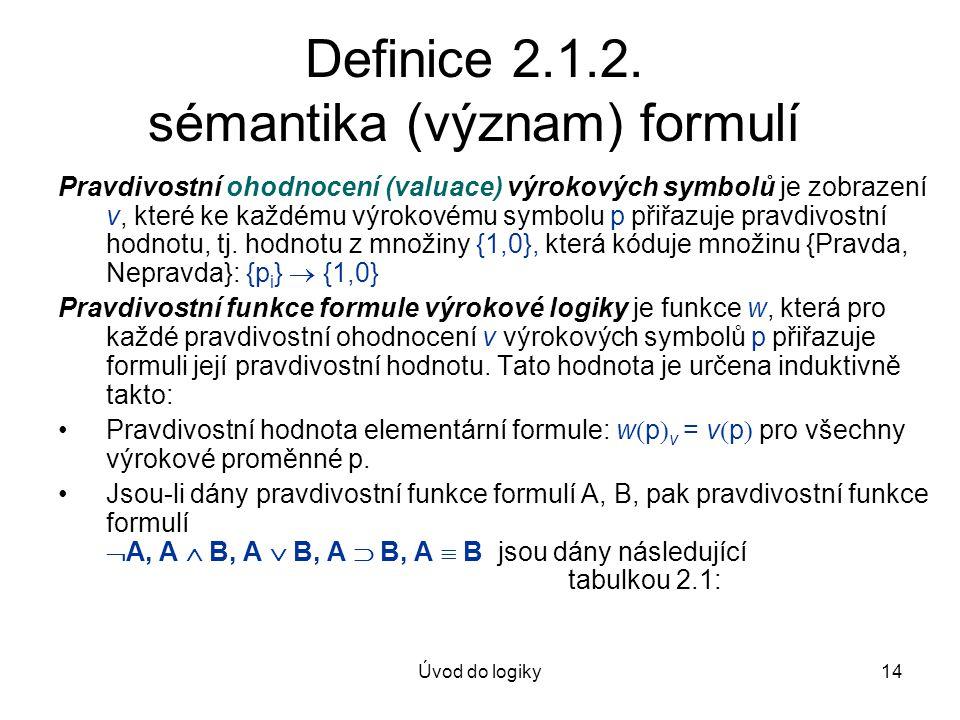 Definice 2.1.2. sémantika (význam) formulí