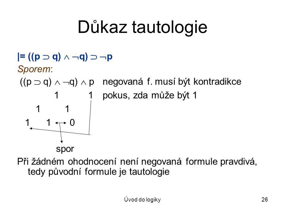 Důkaz tautologie |= ((p  q)  q)  p Sporem: