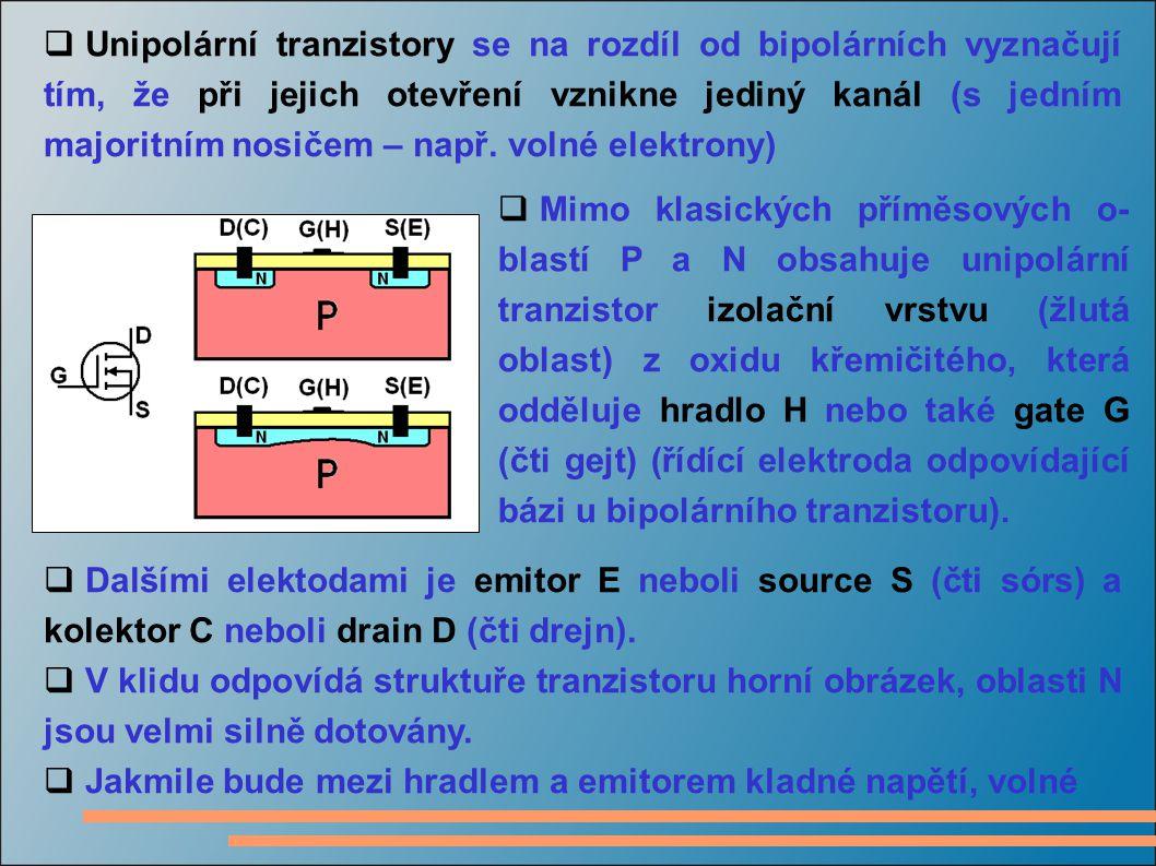 Unipolární tranzistory se na rozdíl od bipolárních vyznačují tím, že při jejich otevření vznikne jediný kanál (s jedním majoritním nosičem – např. volné elektrony)