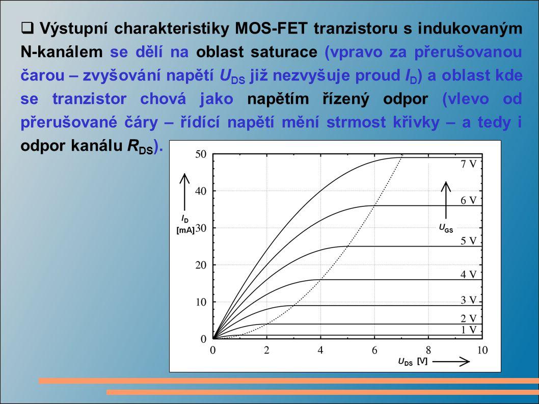 Výstupní charakteristiky MOS-FET tranzistoru s indukovaným N-kanálem se dělí na oblast saturace (vpravo za přerušovanou čarou – zvyšování napětí UDS již nezvyšuje proud ID) a oblast kde se tranzistor chová jako napětím řízený odpor (vlevo od přerušované čáry – řídící napětí mění strmost křivky – a tedy i odpor kanálu RDS).