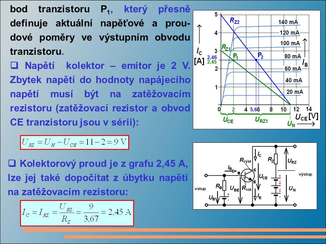 bod tranzistoru P1, který přesně definuje aktuální napěťové a prou-dové poměry ve výstupním obvodu tranzistoru.