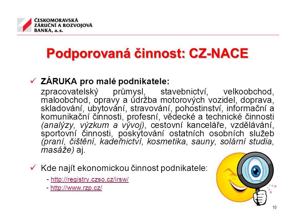 Podporovaná činnost: CZ-NACE