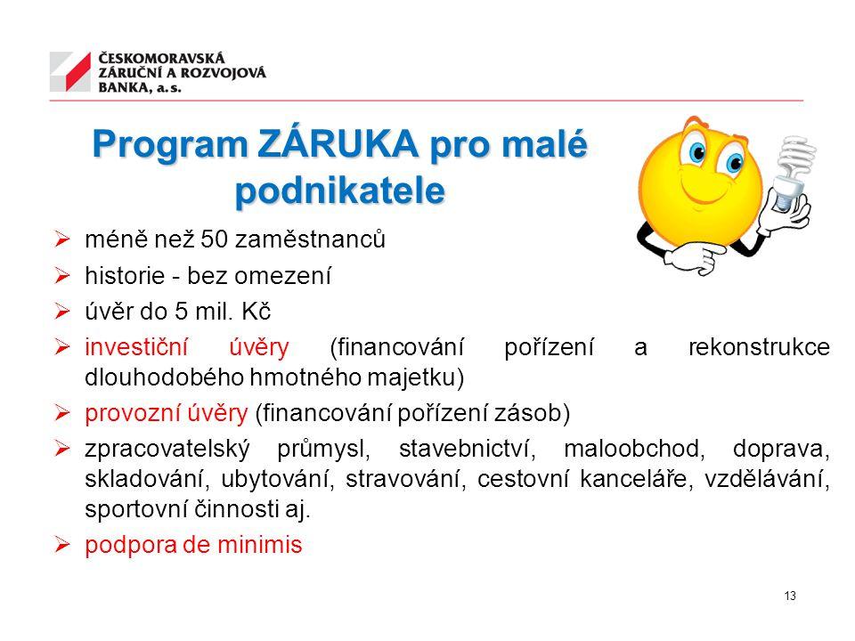 Program ZÁRUKA pro malé podnikatele