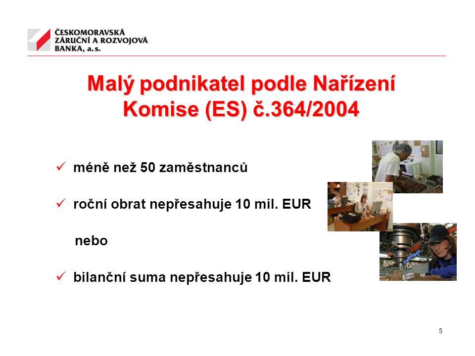 Malý podnikatel podle Nařízení Komise (ES) č.364/2004