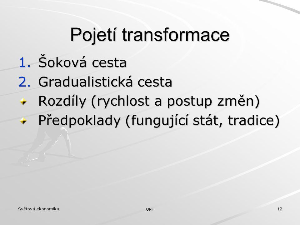 Pojetí transformace Šoková cesta Gradualistická cesta
