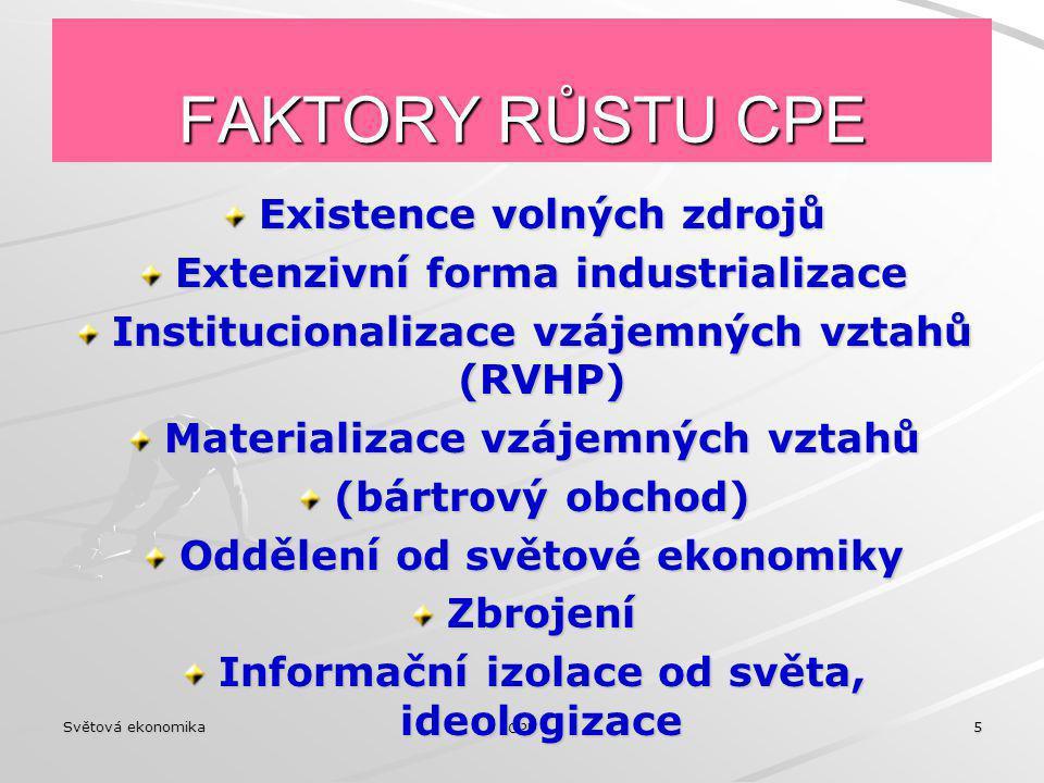 FAKTORY RŮSTU CPE Existence volných zdrojů