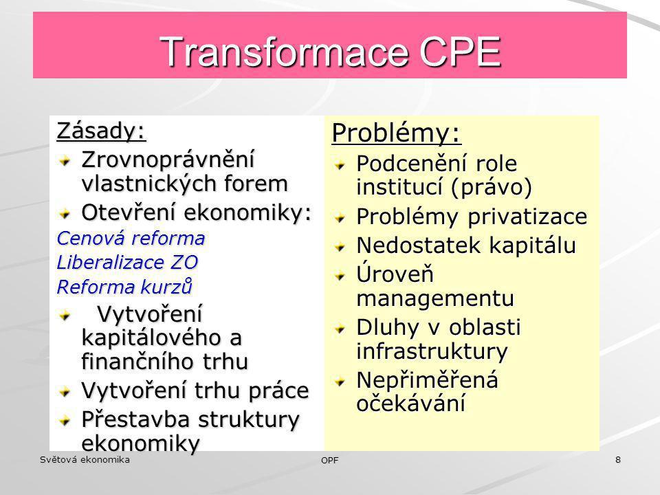 Transformace CPE Problémy: Zásady: Zrovnoprávnění vlastnických forem