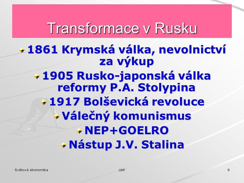Transformace v Rusku 1861 Krymská válka, nevolnictví za výkup